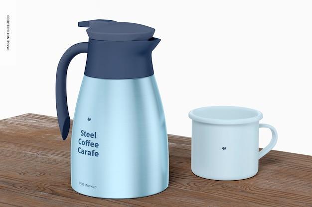 Caraffa da caffè in acciaio con mug mockup