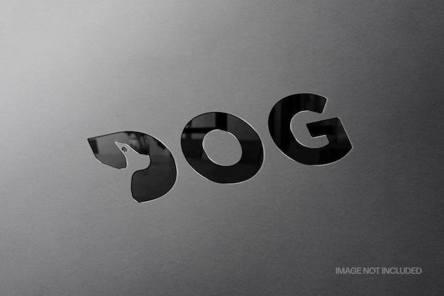 Steel debossed logo mockup