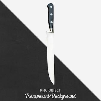투명 한 배경에 검은 손잡이 가진 강철 칼