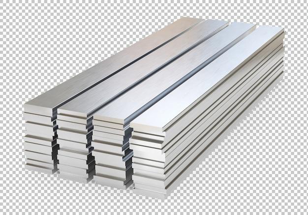 Стальные или алюминиевые пластины изолированные 3d-рендеринга