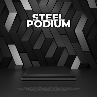 Steel siver pattern podium product display
