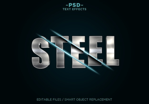 Steel sliced effects text template