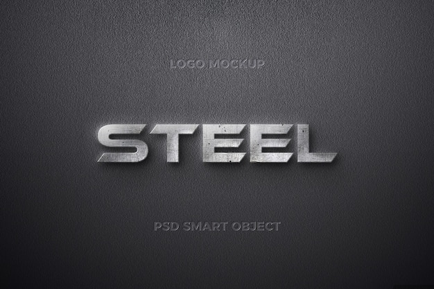 Steel text effect with iron streak text template design