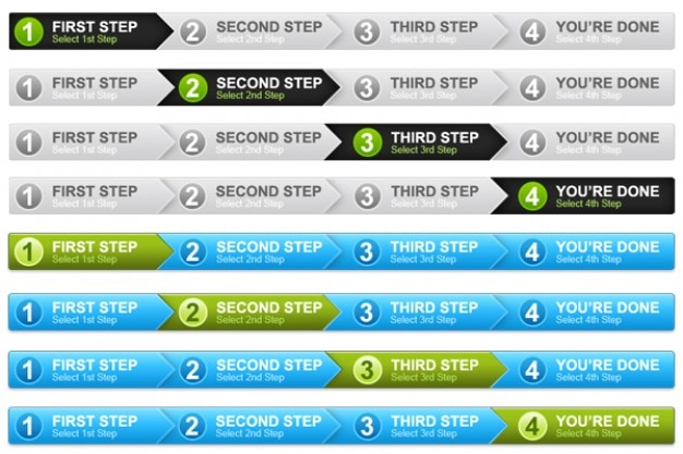 Step process panel in  colors  psd