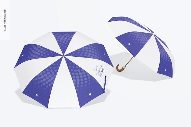 Мокап зонтика палка, перспектива