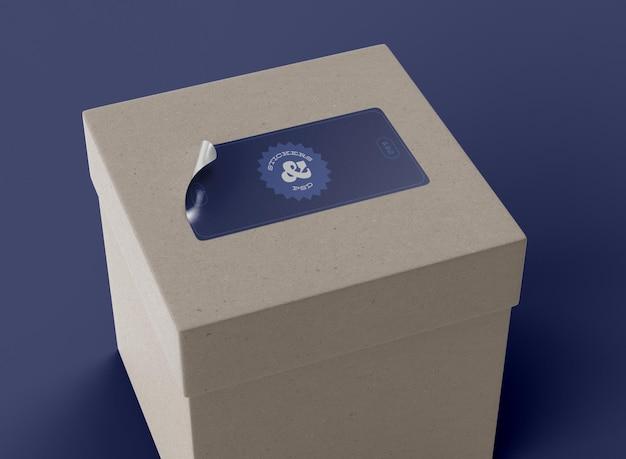 Sticker on box mockup