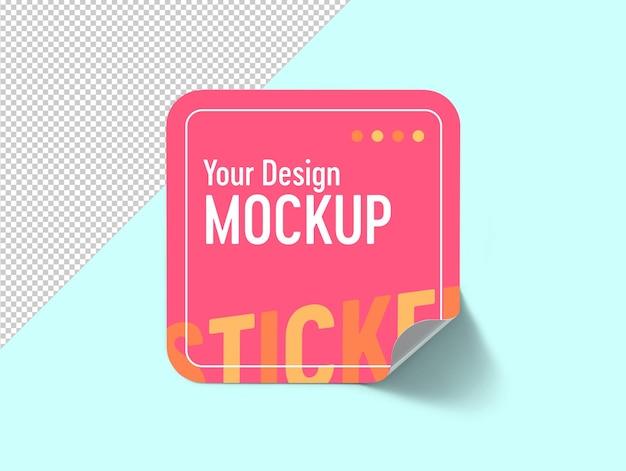 Sticker label mockup with folding corner isolated