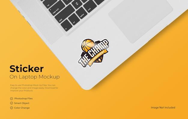 Sticker mockup on laptop editable