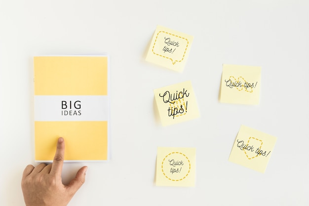 Sticky notes mockup with tips concept