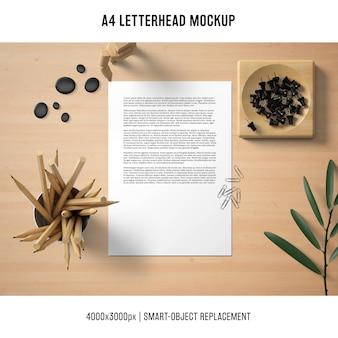 Still life a4 letterhead mockup