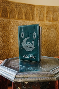 Still life of menu mockup in arab restaurant