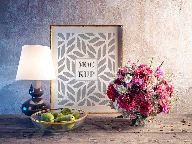 Still life with bouquet of multicolored flowers and frame mockup