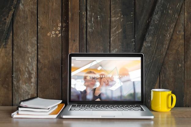Still life with laptop mockup