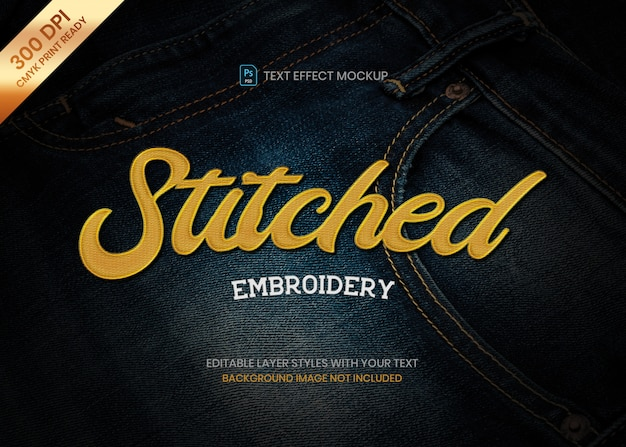 Stitched embroidery style logo text effect psd template.