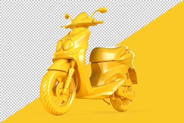 Stnading modern scooter on yellow background