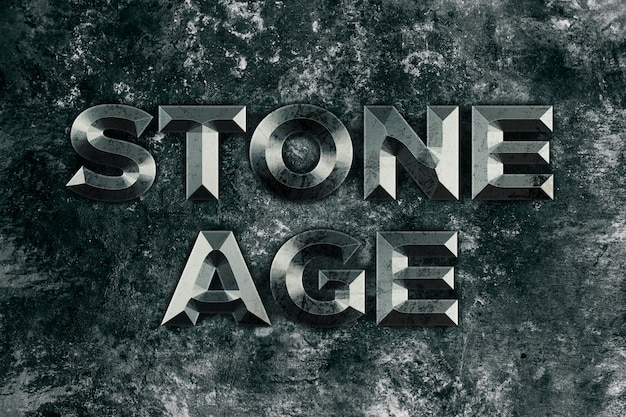 Stone age, stone text style effect