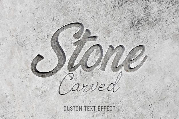 Stone carved 3d text effect