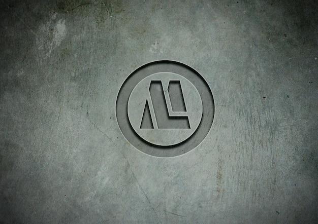 Stone logo mockup  press effect