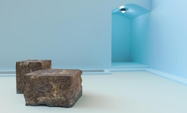 제품 배치 3d 렌더링을위한 블루 룸에 돌 연단
