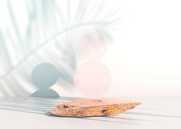 제품 전시를 위한 파스텔 배경의 석조 연단, 모형 디자인을 위한 공백. 3d 렌더링입니다.