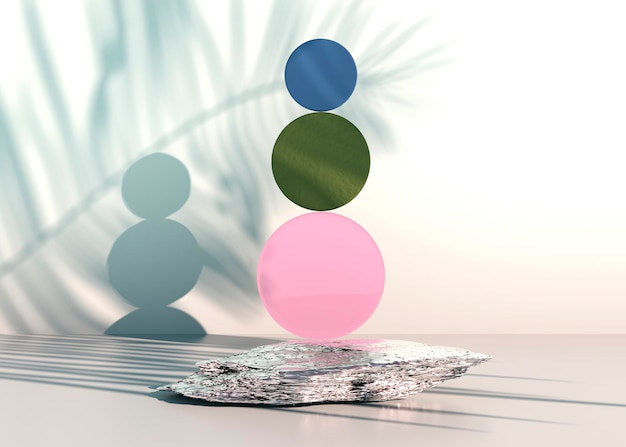 Stone podium on pastel background, for product display, blank for mockup design. 3d render.