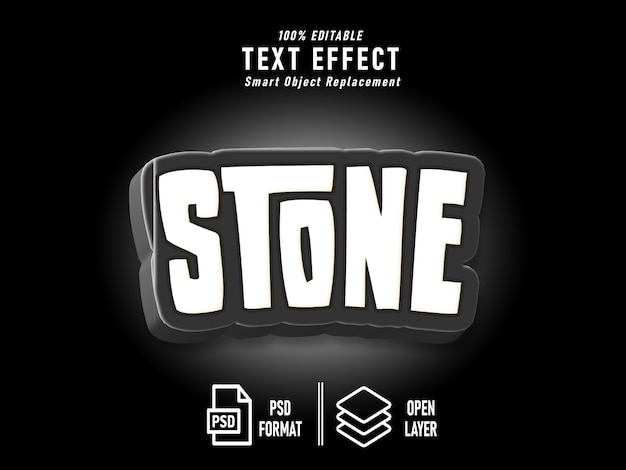 Stone text effect template black