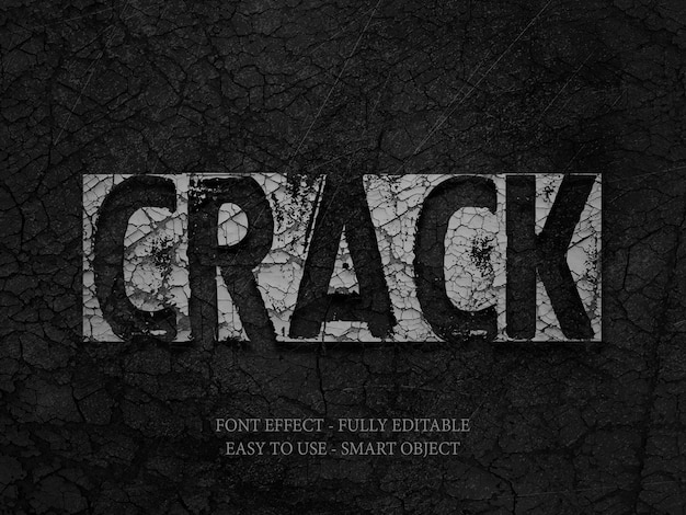 Stone wall crack 3d font effect