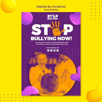 Stop bullying now flyer print template
