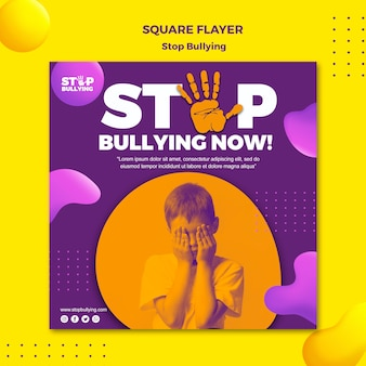 Stop bullying now square flyer print template