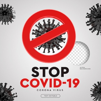 Остановить covid-19 символ вируса короны 3d