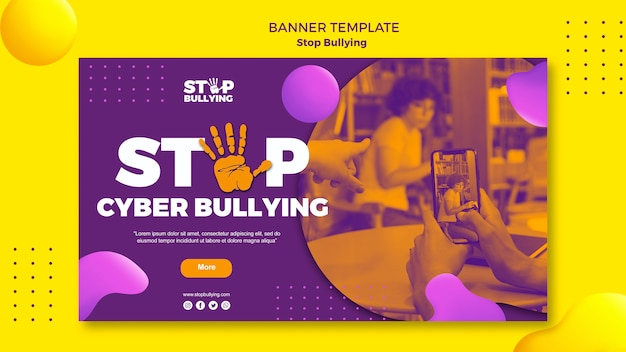 Stop cyber bullying banner web template