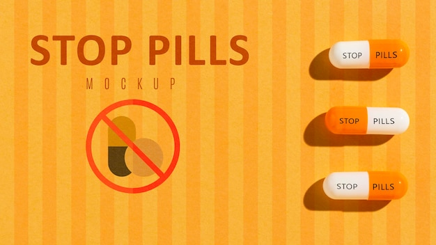 Stop pills addiction with mock-up