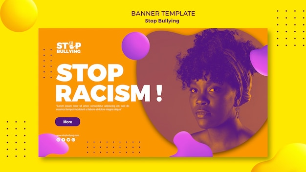 Stop racism banner web template