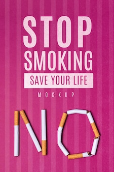 Stop smoking save your life with mock-up
