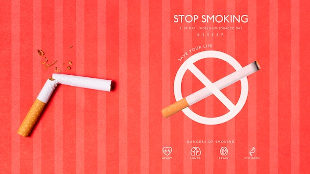 Stop smoking with mock-up concept