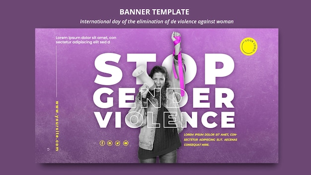 Stop violence against women banner template with photo