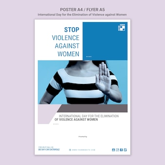 Stop violence against women poster with photo