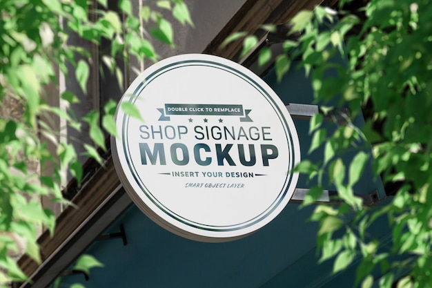 Store brand circular sign board mockup