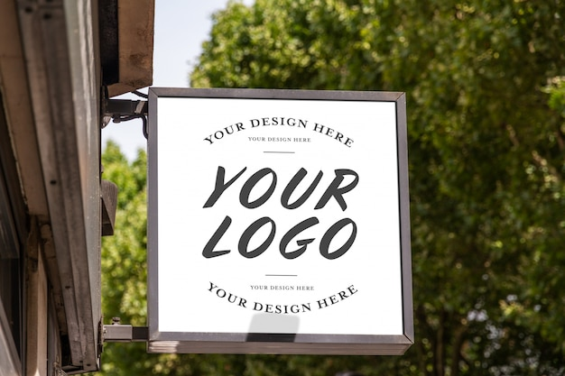 Store brand logo sign mockup
