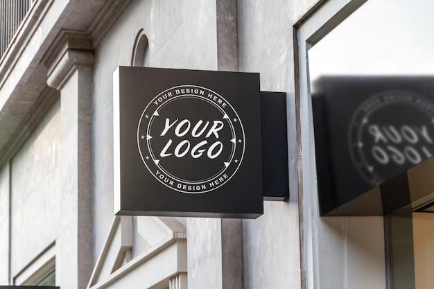 Store brand logo street sign mockup