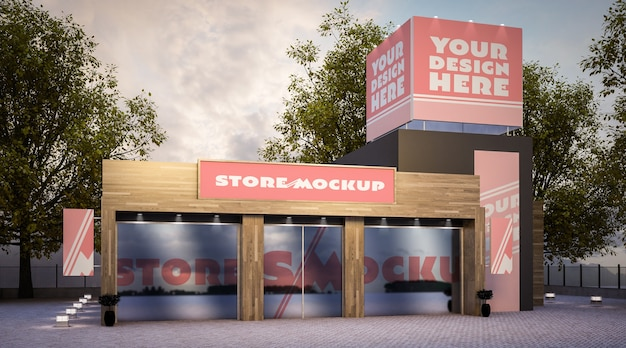 Store building mockup on the street