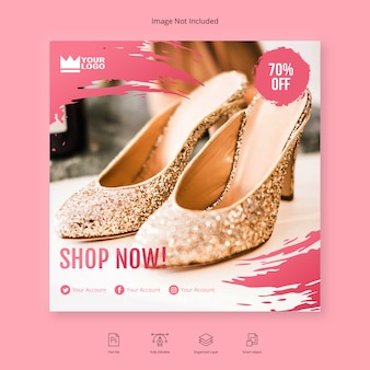 Store promotion shop sale flyer square social media banner template
