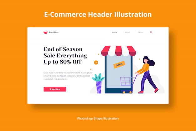 Store shopping web template with flat illustration