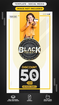Stories of social media templates for black friday discount