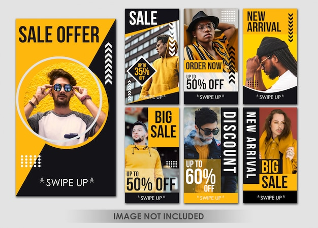 Story social media fashion yellow man template