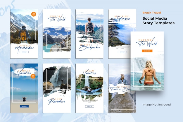Story templates travel brush social media banner