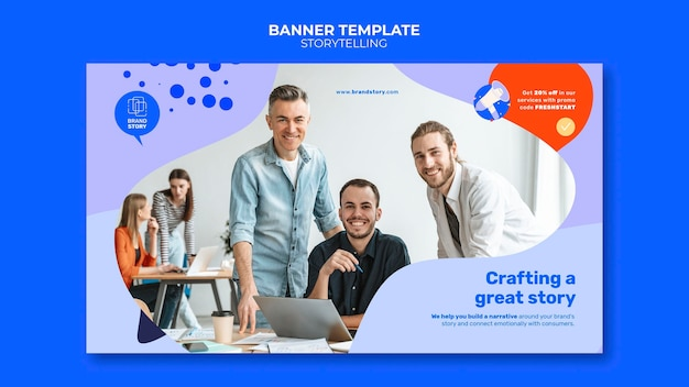 Storytelling banner template with photo