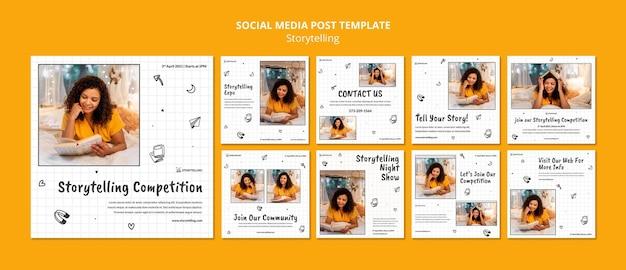 Storytelling community instagram posts template