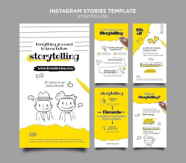 스토리 텔링 Instagram 스토리 템플릿 프리미엄 PSD 파일