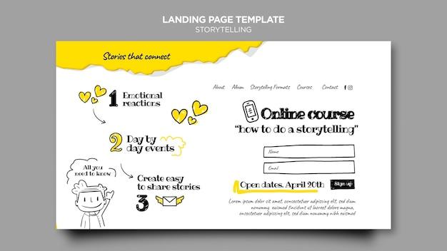 스토리 텔링 온라인 코스 랜딩 페이지 무료 PSD 파일